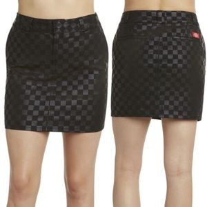 NWT DICKIES checkered print black mini skirt 11 30